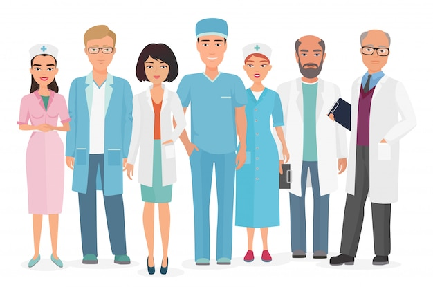 Vector cartoon illustration of group of doctors, nurses and other medical staff.