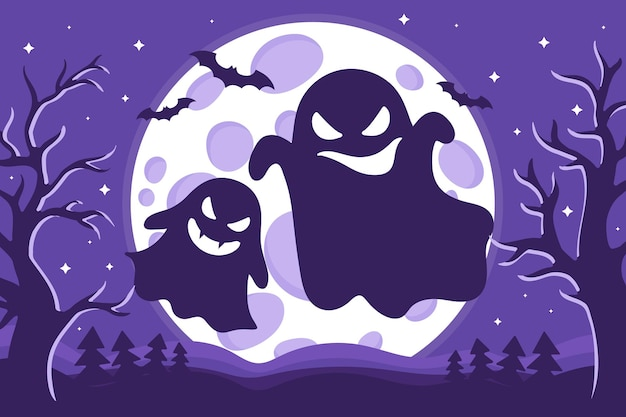 Vector cartoon illustration of halloween ghosts silhouette with different emotions on a background of the full moon