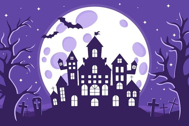 Vector cartoon illustration of halloween haunted castle silhouette in a cemetery on a background of the full moon