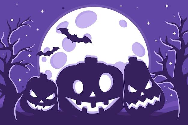 Vector cartoon illustration of halloween jack-o-lantern pumpkins silhouette on the background of the full moon