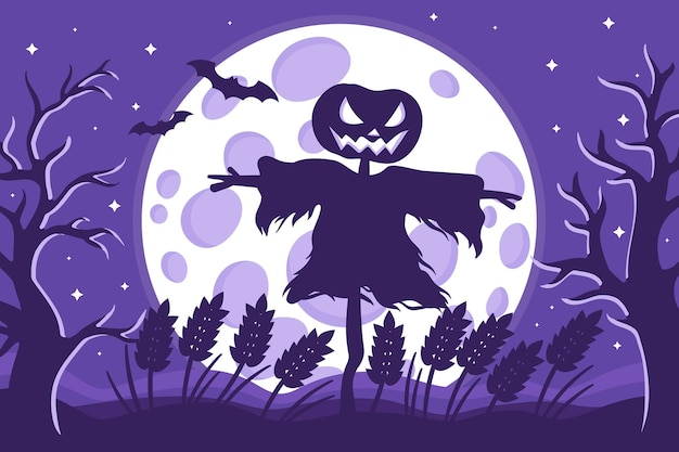 Vector cartoon illustration of halloween scarecrow silhouette in a wheat field on a background of the full moon