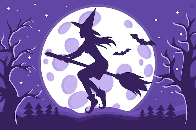 Vector cartoon illustration of halloween witch silhouette flying on a broomstick on the background of the full moon