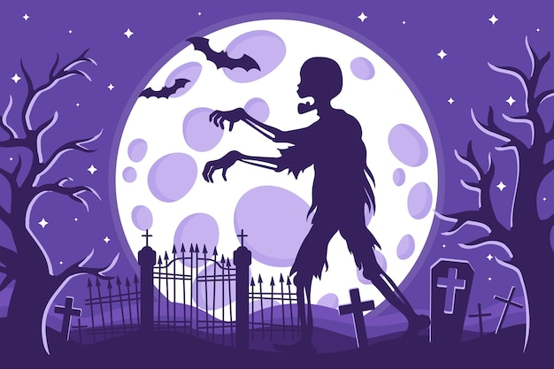 Vector cartoon illustration of halloween zombie silhouette in a cemetery on a background of the full moon stars and bats