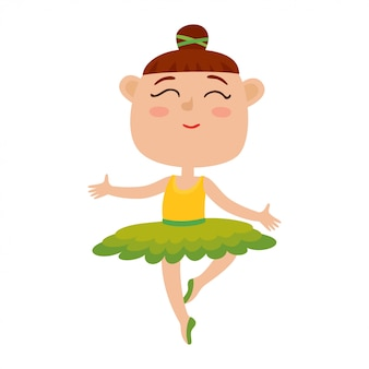 Vector cartoon illustration of happy little girl dancer. cute ballet dancer girl dancing in green tutu