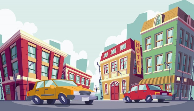 Vector cartoon illustration of the historic urban area