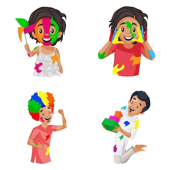 Vector cartoon illustration of holi character set