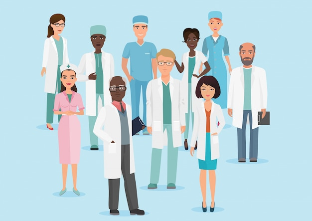 Vector cartoon illustration of hospital medical staff team doctors and nurses.