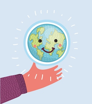 Vector cartoon illustration of human hand holding earth globe with smiliing funny face
