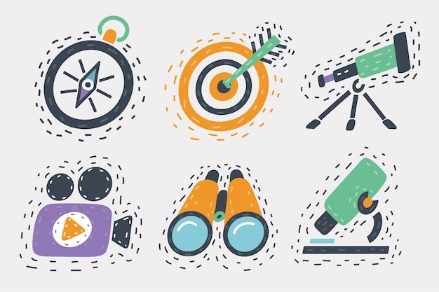 Vector cartoon illustration of icons set hand drawn object in different colors isolated on white background.