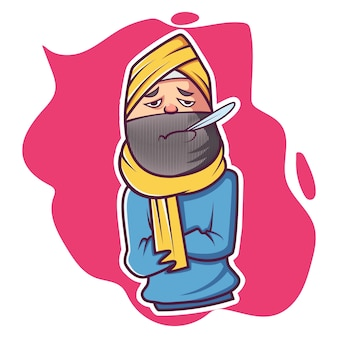 Vector cartoon illustration of ill punjabi man .