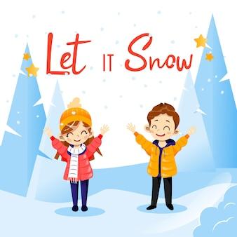 それを雪の書き込みでフラットスタイルのベクトル漫画イラスト。季節の雪に覆われた森と幸せそうに笑っている2人の子供のキャラクターと冬のコンセプトレタリング構成。プラカードのアイデア。