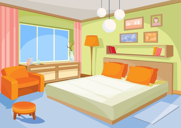 벡터 만화 일러스트 레이 션 인테리어 오렌지 블루 침실, 침대가있는 거실, 부드러운 의자