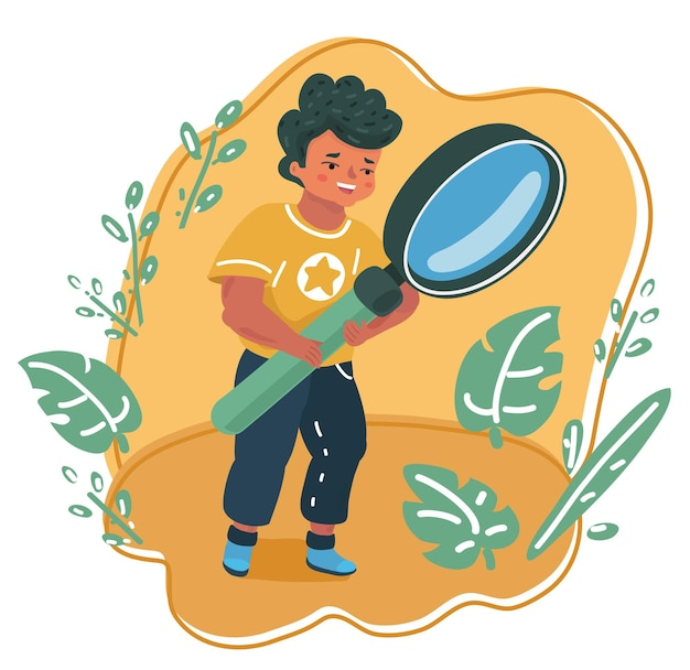Vector cartoon illustration of kid with magnifying glass. kids character is exploring nature.