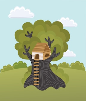 Vector cartoon illustration of kids playng tree house on summer green landscape
