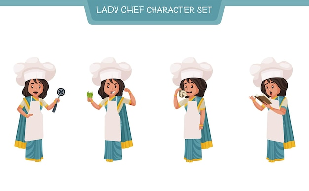 Vector cartoon illustration of lady chef character set