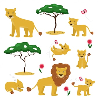 Vector cartoon illustration of lion family collection.