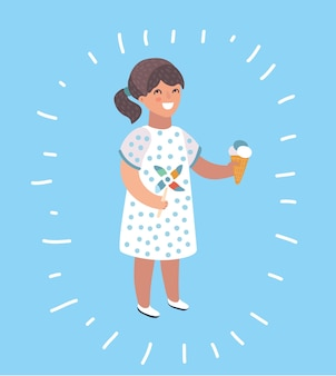 Vector cartoon illustration of little girl eating ice-cream and hold pinwheel illustration. modern sytle human characters on blue isolation background.+