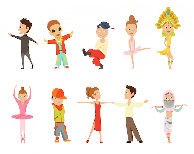 Vector cartoon illustration of little graceful girls-dancer and happy hipster boys isolated