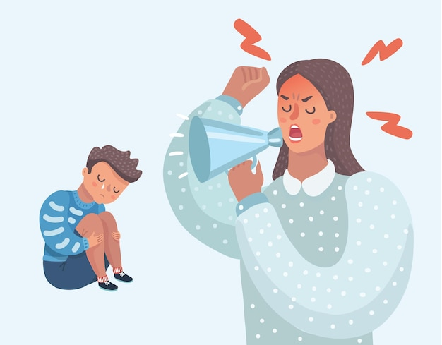 Vector cartoon illustration of little sad crying boy cursing his beloved parents family quarrel angry parents wrong education psychology