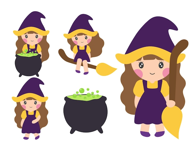 Vector cartoon illustration of little  witch girl