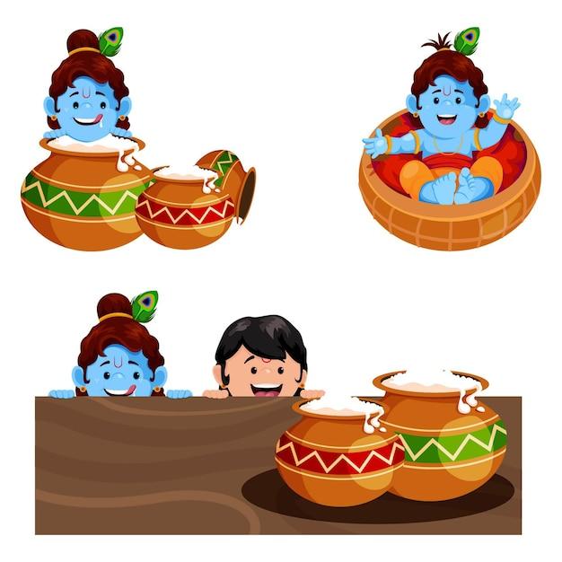 Vector cartoon illustration of lord krishna character set
