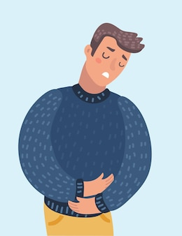 Vector cartoon illustration of man who has a stomachache. character on isolated background