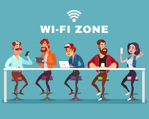 Vector cartoon illustration of a men and a woman in the wi-fi zone
