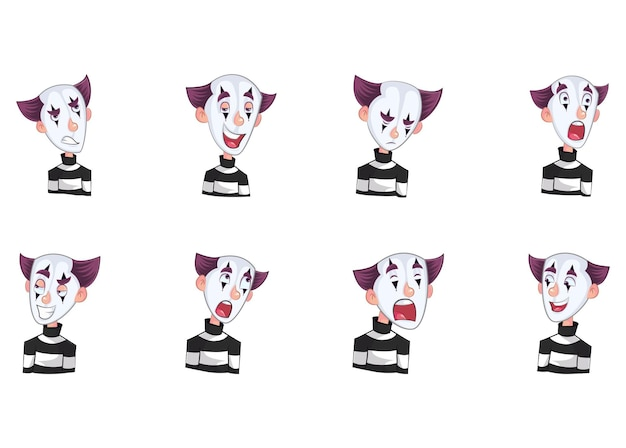 Vector cartoon illustration of mime boy stickers