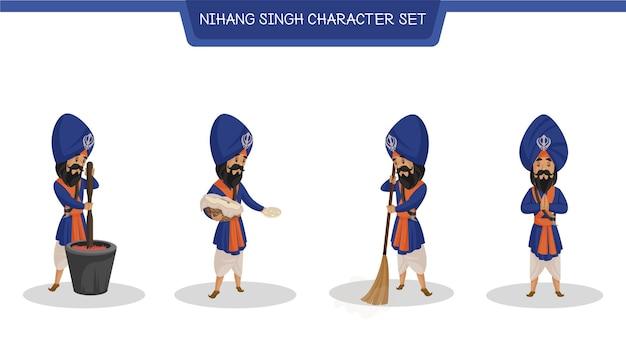 Vector cartoon illustration of nihang character set