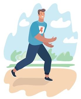Vector cartoon illustration o running in city park