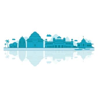 Vector cartoon illustration of odisha skyline.