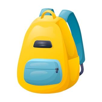 Векторные иллюстрации шаржа ярких школьников рюкзак. сумка для тетрадей, учебников и канцелярских принадлежностей. снова в школу наклейка.