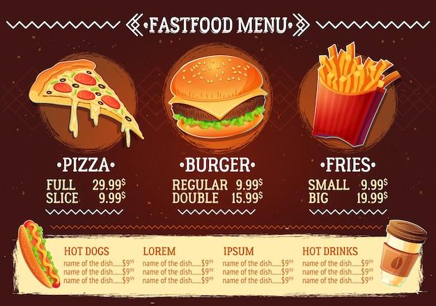 Векторная иллюстрация мультфильма меню ресторана быстрого питания