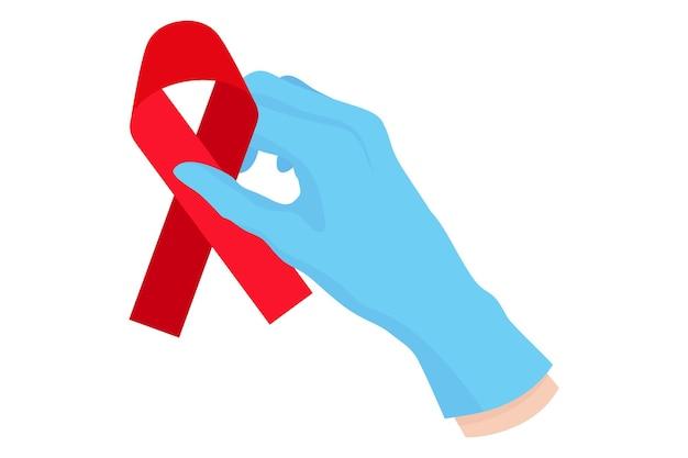 赤いリボンを保持している青い手袋の医者の手のベクトル漫画イラスト。