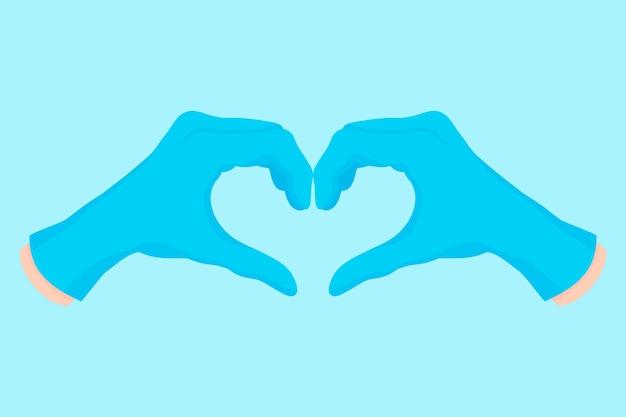 ハートの形をした青い手袋の医者の手のベクトル漫画イラスト。