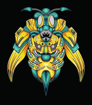 로봇 말벌 또는 꿀벌의 벡터 만화 일러스트 레이 션 프리미엄 벡터