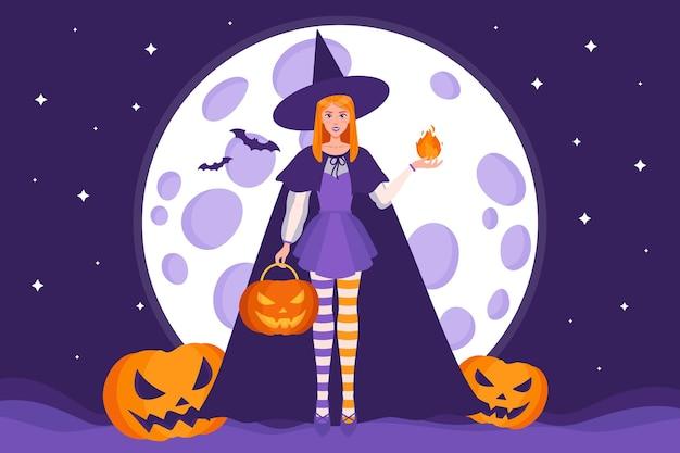달, 별, 박쥐의 배경에 마녀와 할로윈 잭 오 랜턴 호박의 벡터 만화 그림