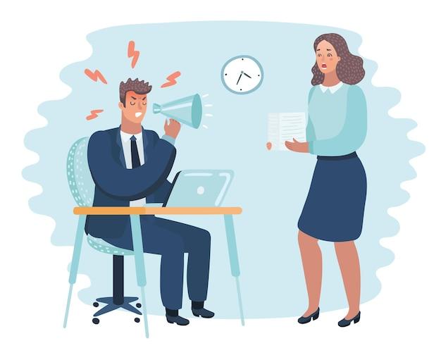 Векторные иллюстрации шаржа разгневанного босса и испуганного сотрудника. мужчина сидит за столом, женщина приносит стопку бумаг