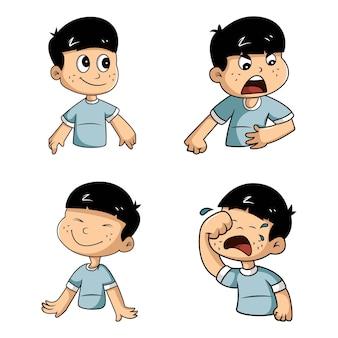 少年ステッカーセットのベクトル漫画イラスト