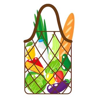 白い背景で隔離の有機食品と茶色の食料品の文字列またはタートルメッシュバッグのベクトル漫画イラスト