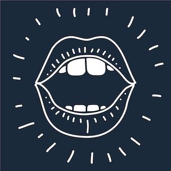 漫画ベクトルアウトラインイラスト人間の口のベクトル漫画イラストは黒の背景に開きます。アウトライン画像。