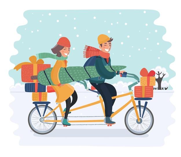 雪景色でボックスギフトとクリスマスツリーと自転車に乗って陽気な家族のカップルのベクトル漫画イラスト。幸せな休日の冬の概念