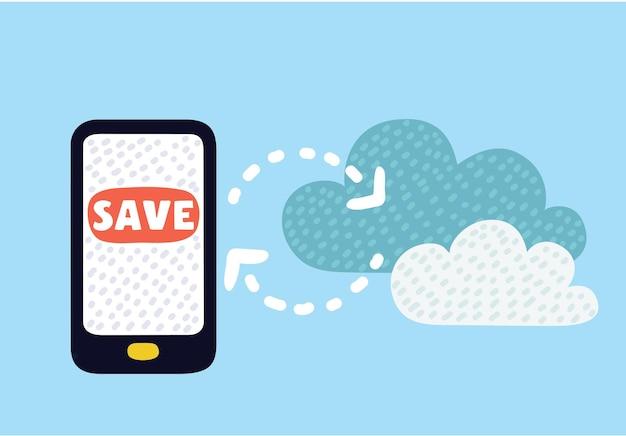 Векторные иллюстрации шаржа облачной загрузки с мобильного телефона в данные облачного хранилища на сервере. современная концепция в ярких тонах.