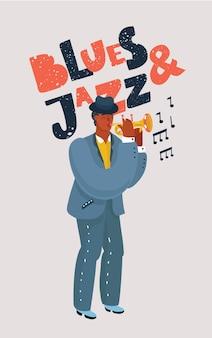 다채로운 색소폰 흑인 선수의 벡터 만화 그림입니다. 흰색 바탕에 블루스와 재즈 손으로 그린 글자.+