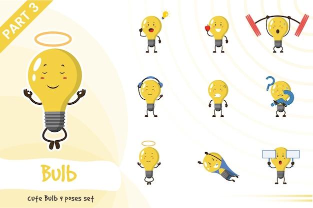 かわいい電球セットのベクトル漫画イラスト