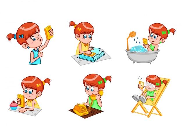 かわいい女の子のベクトル漫画イラスト。