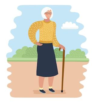 Векторные иллюстрации шаржа пожилой женщины в парке с тростью. отдых и тишина на природе.