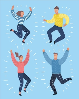 Векторные иллюстрации шаржа четырех персонажей, прыгающих и улыбающихся с поднятыми руками