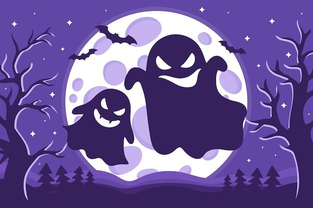 Векторные иллюстрации шаржа призрак силуэт хэллоуин с разными эмоциями на фоне полной луны