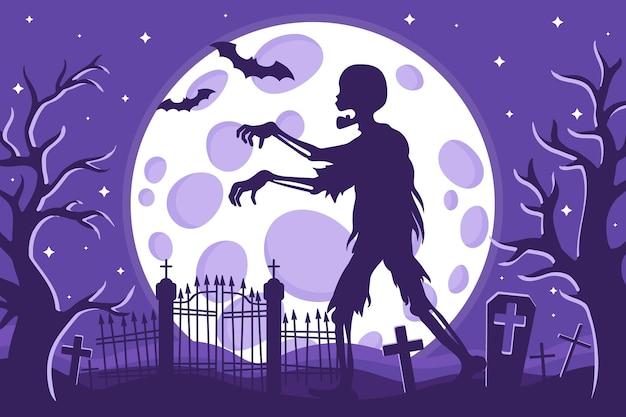 Векторные иллюстрации шаржа силуэт зомби хэллоуин на кладбище на фоне полной луны звезд и летучих мышей
